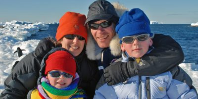 Eric Philips and family in Antarctica